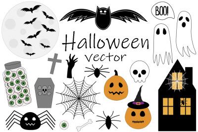 Set Halloween vector illustration