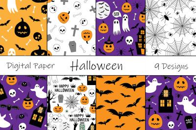 Set seamless pattern Halloween vector illustration
