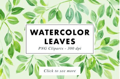 16 Watercolor Leaf PNG Paintings