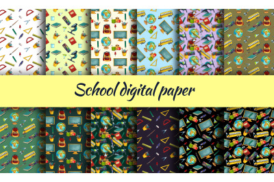 Digital paper with watercolor clipart, School digital paper