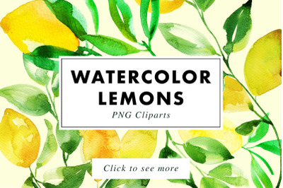 Watercolor Lemon Painting Bundle
