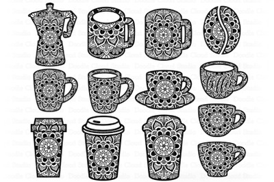 Coffee Bundle Mandala SVG, Coffee Cup Mug Moka Mandala.