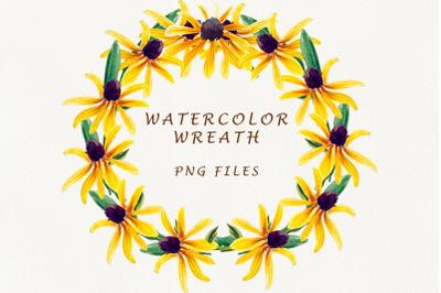 Sunflower wreath. Frame png