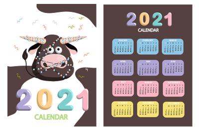 Calendar 2021. Cute design. Symbol of the year bull or ox. Just print