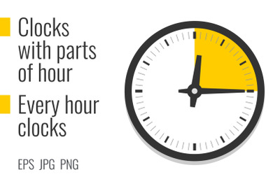 Clocks with parts of hour