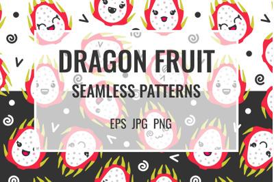 Dragon fruit seamless patterns