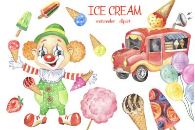 Watercolor ice cream clipart. Summer, popsicle ice cream, hand-painted