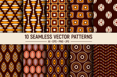 10 Hand drawn seamless vector patterns
