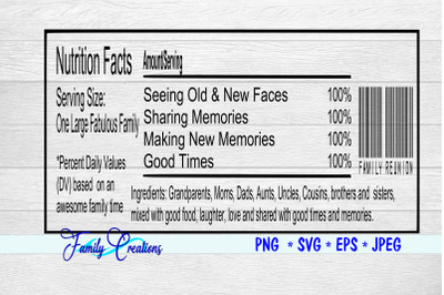 Fabulous Family Reunion Nutrition Label