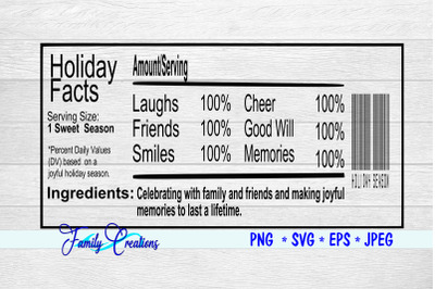 Holiday Facts Nutrition Label