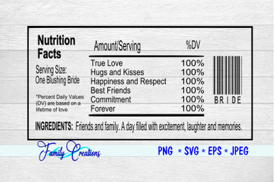 One Blushing Bride Nutrition Label