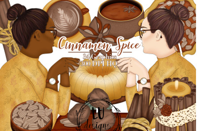 Cinnamon Spice Clipart, Autumn Clipart, Fall Graphics, Coffee Girl