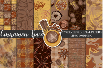 Cinnamon Spice Digital Papers, Autumn Background, Fall Scrapbook Paper