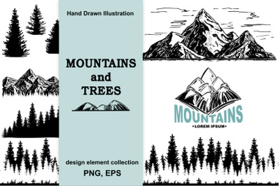 Mountains and trees sketch set