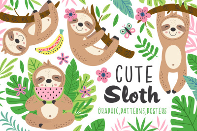 Cute sloth collection
