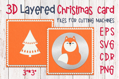 3D Layered Christmas card with fox