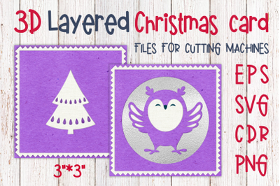 3D Layered Christmas card with owl