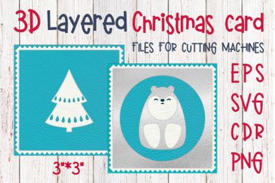 3D Layered Christmas card with polar bear