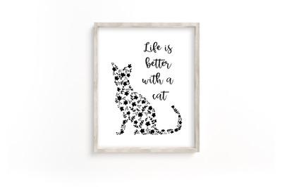Cat printable, printable cat wall art, cat and flowers