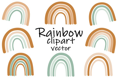 Set stylized rainbow brown and green vector illustration