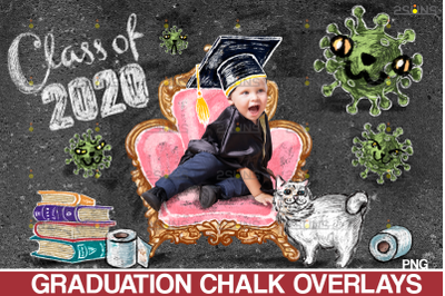 Overlay Graduation Sidewalk Chalk Art