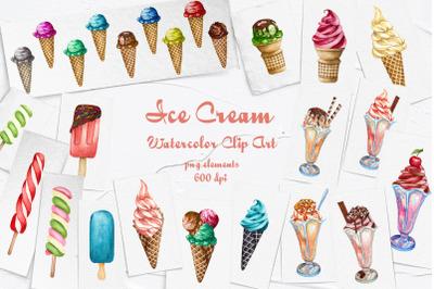 Ice Cream Watercolor Clip Art