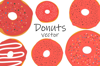 Set red donuts with chocolate vector illustration