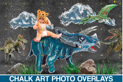 Dinosaurs Chalk art overlays, Dinosaur backdrop