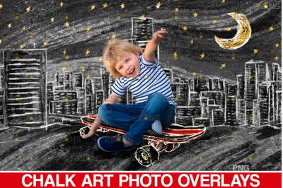 Skate chalk art photo overlays, skate sidewalk png