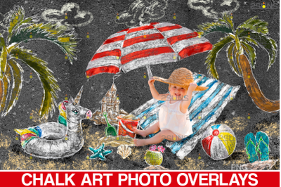 Sidewalk Chalk art Overlay, Summer backdrop and Beach Chalk