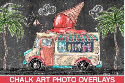 Sidewalk Chalk Overlay: Ice cream car chalk art, Summer Backdrop,