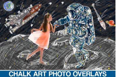 Chalk art overlay: Space Explorer Photoshop overlay, Space Shuttle