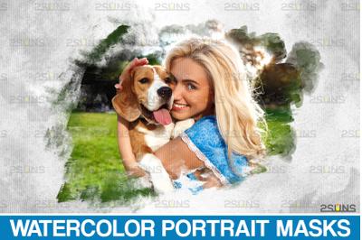 Digital watercolor pet portrait, Watercolor Portrait Masks, Clipping