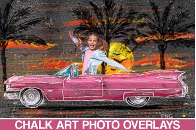 Car chalk art overlay, sidewalk old car, chalk art car illustration