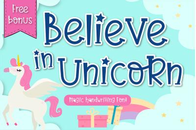 Believe in unicorn Handwriting- cute kid font Kawaii style!