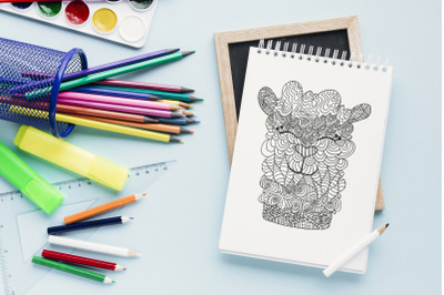 Animal PDF Coloring Page for Adults, Digital Doodle Coloring Pages