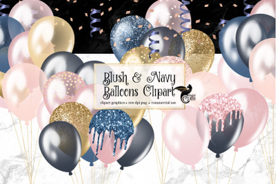 Blush and Navy Balloons Clipart