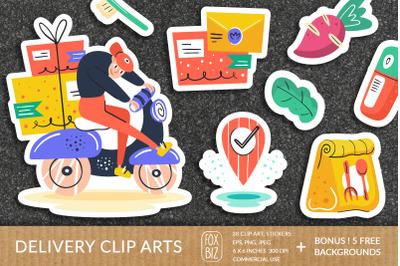 Big delivery clipart. Flat vector digital prints, stickers.