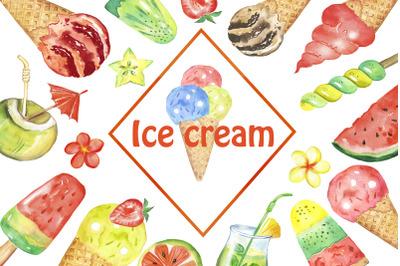 Watercolor ice cream clipart. Multicolored ice cream fruits clip art.