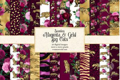 Magenta and Gold Big Cats Digital Paper
