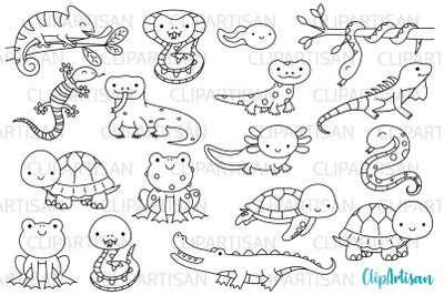 Reptiles and Amphibians Digital Stamps
