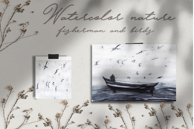watercolor landscape and nature with birds and fisherman