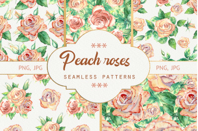Seamless patterns with peach roses. Watercolor