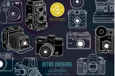 Vintage Cameras White | Hand Drawn Polaroid Picture | Retro Video