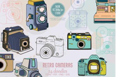 Vintage Cameras Color | Hand Drawn Polaroid Picture | Retro Video