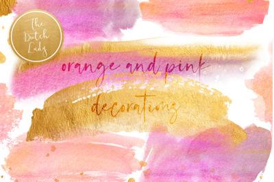 Orange & Pink Watercolor Smears