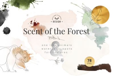 Scent of the Forest - One Line Art and Watercolor Textures