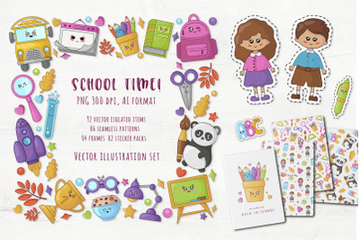School Time - cute vector set