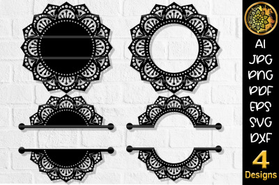 Circular Monogram SVG Cut File Set-4