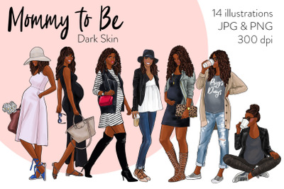 Watercolor Fashion Clipart - Mommy to Be - Dark Skin
